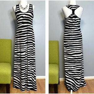 Calvin Klein Black White Zebra Animal Maxi Dress